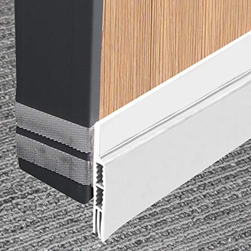 Under Door Sweep Door Seal Adjustable and Removable Freely Weather Strip, White Door Draft Stopper Unique Hook&Loop Design Keep Bugs Insects Out Rain Stopper 2-1/4
