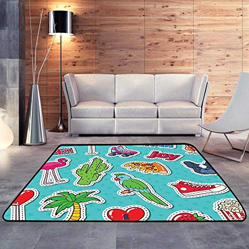 Contemporary Synthetic Rug,Teenager Fashion Lifestyle Stickers, BadgesW 47