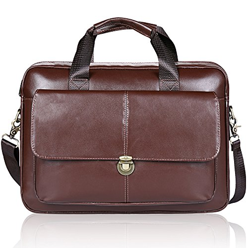 Men's Briefcase TECOOL Genuine Leather 14 Inch Laptop Business Shoulder Bag Messenger Bag Satchel Bag,Brown
