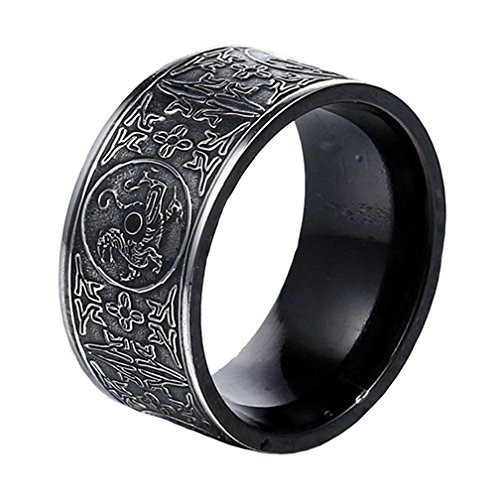 SINLEO Men's Stainless Steel Chinese Ancient 4 Guardian Beasts Ring Dragon, White Tiger, Suzaku, Basalt Carved Black Size 10