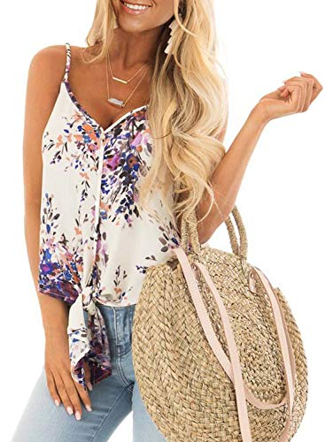 Women's Sleeveless Shirts Floral Print Blouses Tie Front Button Up Spaghetti Strap Fashion Cami Tank Tops Small 4 6 ()