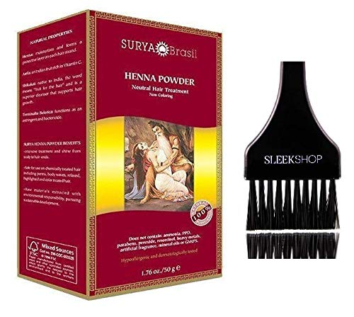 Surya Brasil All Natural HENNA Hair Color POWDER Dye, Coloring & Hair Treatment (with Brush) Brazil (NEUTRAL) ()
