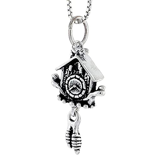 Amazon.com: Plata de ley Reloj de cuco Encanto, 1 inch Tall ...
