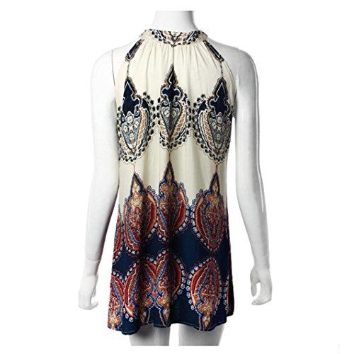 Kleid Transer® Damen Mode Kleider Rundhals Sleeveless Sommer Outdoor Geschäft Festival Cocktail Picknick Strand Chiffon Drucken Minikleid Gr.S-XL