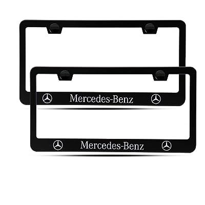 2 Pieces of Mercedes Benz Luxury Car Matte Black Aluminum Alloy License Plate Frame, Suitable for American Standard Cars License Plate Mercedes Benz Vehicles: Automotive