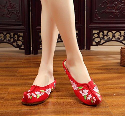 Avacostume Womens Spray Embroidery Scarpe Con Suola In Gomma Mocassino Rosso
