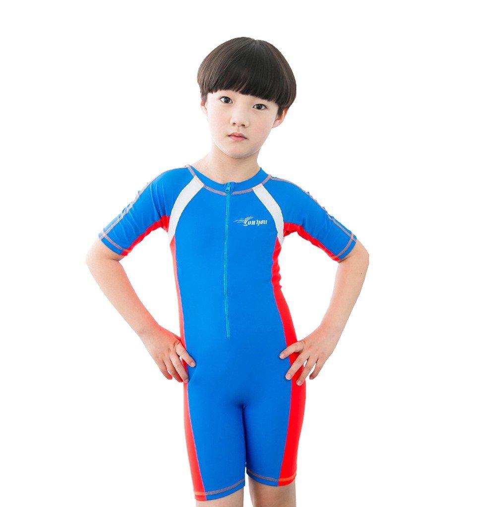 homieco ™ Girl 's Boy 's Short Sleeve Sunsuit One Pieceラッシュガード水着ウェットスーツ B01FW0AUQQ ブルー 2XL(suggested height47\