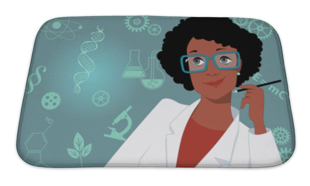 Gear New Bath Mat For Bathroom, Memory Foam Non Slip, Career For Women In Science And Technology Portrait Of A Woman In A Lab Coat, 24x17, 5268655GN