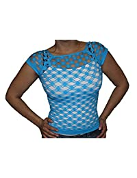 New Sexy Fishnet Shirt Short Sleeve Top Bathing Suit Cover Up_Aqua
