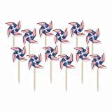 "Amscan Patriotic Pinwheel in Wooden Picks 4th of July Party Supply and Decoration, Paper, 3"", Pack of 20"