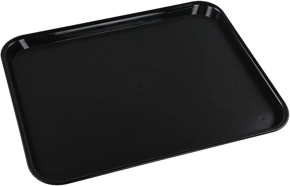 Ramddy Black Serving Trays, Plastic Fast Food Trays, Set of 4