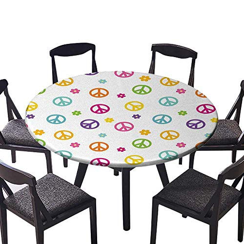 """Luxury Round Table Cloth for Home use Peace Symbol Old Lifestyle Sign Slogan Celebration Merry Jolly Theme Artful for Buffet Table, Holiday Dinner 47.5""""-50"""" Round (Elastic Edge)"""