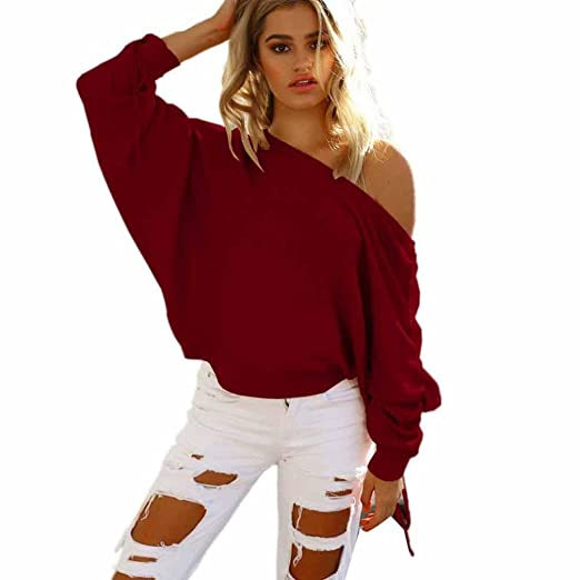 12f54424900 FUNIC Womens Shirt, One Shoulder Baggy Shirt Tops Chunky Knitted Oversized  Sweater Jumper Blouse (