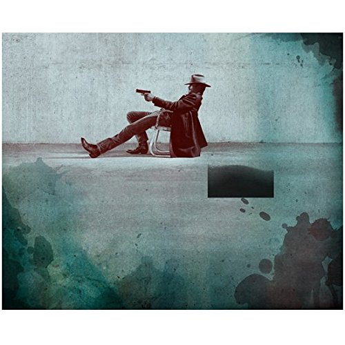 Justified Timothy Olyphant as Raylan Givens Lounging and Aiming in Chair 8 x 10 Inch Photo