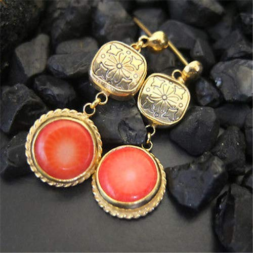 Ancient Design Jewelry Handmade Hammered Coral And Button Earring 22K Gold Over 925K Sterling Silver ()