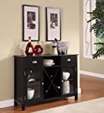 kitchen cabinet bar height King's Brand WR1242 Wood Wine Rack Console Sideboard Table with Drawers and Storage, Black Finish