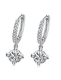 BODYA 2pcs Women's Silver Plated dangling Clear Crystal Zircon Cz Round Hoop Earrings Studs