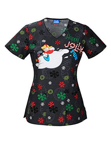 Tooniforms V-Neck Scrub Top, XS, Jolly Frosty Fun