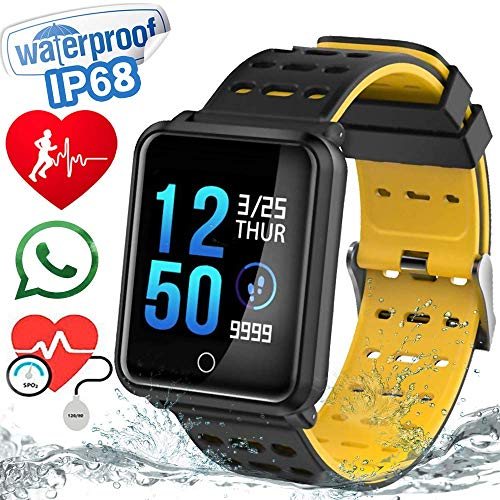 """1.3"""" TF2 Sport Watch Fitness Tracker Blood Pressure HD Screen Heart Rate Monitor IP68 Waterproof Pedometer Stopwatch Smartwatch for Activity Tracker iOS Android (Black)   N88 black"""