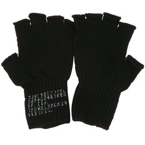 Coin Changer Fingerless Wool Glove - Black