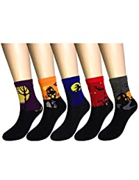 WEILAI Socks Women's Fashion Halloween Pattern Casual Crew Socks 5 Pairs