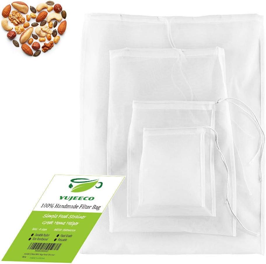Food Strainer Filter Bag Reusable - Pack 4 Kitchen Fine Mesh Nylon Filtering Bag for Almond Milk Cheese Yogurt Coffee Brew Wine Tea Juice