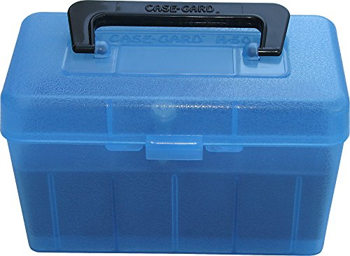 MTM H50-RS-24 Deluxe 50-Round Rifle Ammo Case Box 223 5.56x45 204 Ruger (Clear Blue)