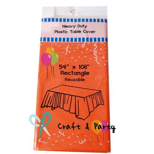 Orange Tablecloth - (12-pack) Heavy Duty Plastic Table Covers Tablecloth (Reusable) (Rectangle 54
