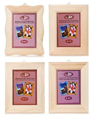 darice 1 piece 5 x7 inch natural wood frame assorted styles - Natural Wood Frames