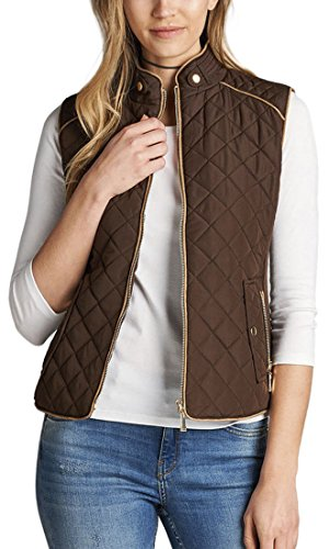 Piping Detail Padded Vest Suede ToBeInStyle New Quilted Brown Women's With B1EYwB0Uq