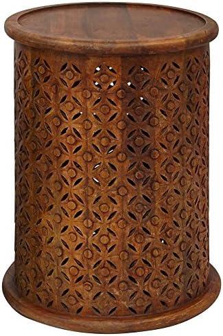 Jofran Global Archive Drum Table – Mango, 17 W X 17 D X 23 H, Finish, Set of 1