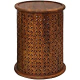 Jofran 1730-17MGO Global Archives Drum Table, 17 W X 17 D X 23 H, Mango Finish, (Set of 1)
