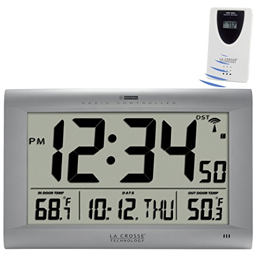 amazoncom la crosse technology 5131311ot jumbo atomic digital wall clock with outdoor temperature silver home u0026 kitchen