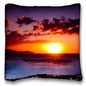 "Custom ( Nature Sunrise Sunset Sunlight Landscape Trees Rock Stone sunrise sunset autumn sky mountains ) DIY Pillow Cover Size 16""X16"" suitable for Full-bed PC-Purple-10461"