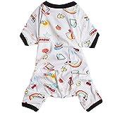 LovinPet Dog Pjs Rainbow Dog Pajamas Adorable Shirt Pet Clothes Cotton with Snap Button X-Small (Please Read Description)