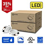 IN HOME 4-inch LED Downlight RETROFIT KIT Recessed Lighting Fixture, 10.5W (60W Equivalent), Dimmable, 3000K (Warm white), 700 Lumens, (24 Pack), UL and ENERGY STAR listed