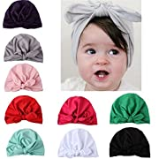 9 Pack Baby Girl Hats Knotted With Soft Cute Turban Headband Cap for Newborn Infant Kids Girl's