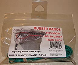 Super Big Mouth Trash Bags Rubber Bands 5-Pack Fits 64 - 80 Gallon Cans / Carts