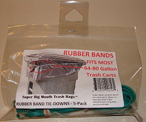 Super Big Mouth Trash Bags Rubber Bands 5-Pack Fits 64-80 Gallon Cans/Carts ()