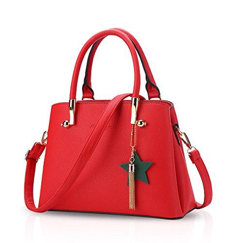 NICOLE&DORIS Moda Bolsos de Mano Bolsa de Hombro Bolso de Crossbody PU Negro Rojo