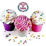 Bath Bomb GIFT SET, 3 XL Cupcakes - Fizzy Lush Bath Bombs Nourish (Sea Salts), Moisturize (Jojoba & Sweet Almond Oils), Exfoliate (Frosting). Fun Gift for Her - Spa Relaxation Bath Set. Made in USA.