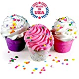Bath Bombs From Lush Bath Bomb GIFT SET, 3 XL Cupcakes - Fizzy Lush Bath Bombs Nourish (Sea Salts), Moisturize (Jojoba & Sweet Almond Oils), Exfoliate (Frosting). Fun Gift for Her - Spa Relaxation Bath Set. Made in USA.
