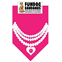 BANDANA - Pearl Necklace for Medium to Large Dogs - hot pink