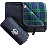 DOWN UNDER OUTDOORS Large Waterproof Windproof Extra Thick Quilted Fleece Stadium Blanket, Machine Washable Camping Picnic & Outdoor, Beach, Dog, 82 x 55 (red/blue/green) Festival Baseball Folding Rug
