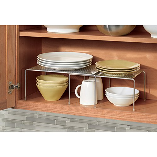 mDesign Adjustable Kitchen Cabinet, Pantry, Countertop Organizer Storage Shelves: Expandable and Stackable, Durable Steel, Non-skid Feet – Silver