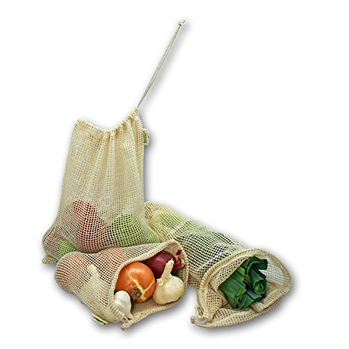 Simple Ecology Reusable Organic Cotton Mesh Grocery Shopping Produce Bags - Set of 6 (2 ea. L, M, S) (heavy duty, washable, produce saver bags, food storage, bulk bin, tare weight tag, drawstring)