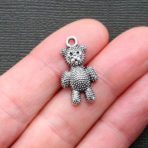 (8 Teddy Bear Charms Antique Silver Tone - SC2739 Jewelry Making Supply Pendant Bracelet DIY Crafting by Wholesale Charms)