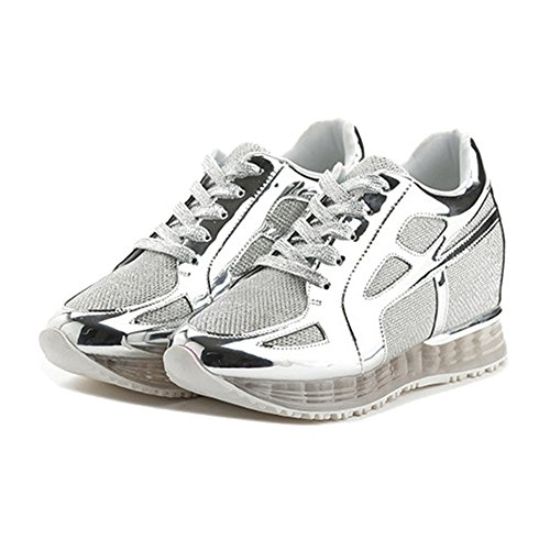 Women's Mesh Platform Casual Sneaker Shoes Lace Up Breathable Wedge Athletic Running Shoes