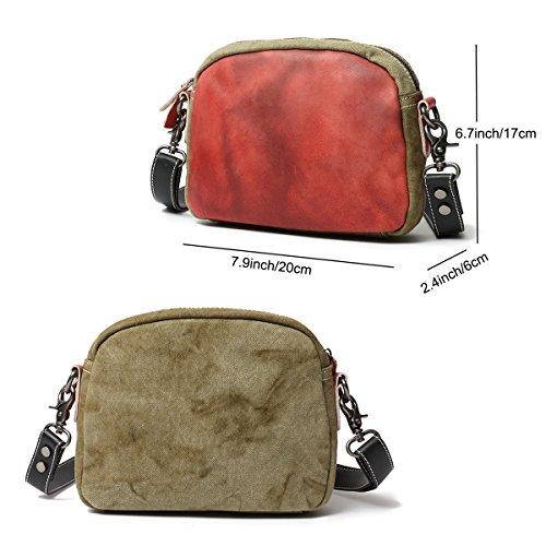 Bolso Crossbody Ladies de amp; Bolsos hombro de Bolsos Vintage de mano Rojo pequeños Bolsos ONEGenug Bolso Canvas Mujer Leather Genuine Bag vBwTxqtf