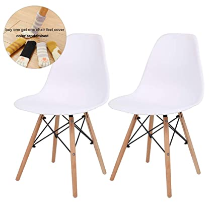 Cool Joolihome Eiffel Dining Chairs Set Plastic Wood Retro Style For Office Lounge Dining Kitchen White Chair 2 Dailytribune Chair Design For Home Dailytribuneorg